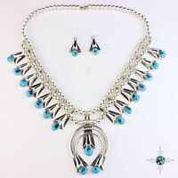 Large Navajo turquoise sterling silver .925 squash blossom Necklace earring set