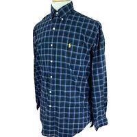 Ralph Lauren Polo Men's Shirt Blake Fit Two Ply Cotton Black Blue Check Small