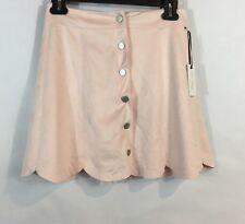 d0c4717f55 Lovers & Friends Womens Skirt Blush Pink Faux Suede Scalloped Hem Button ...
