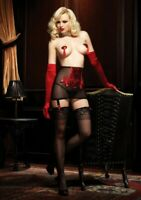 Red Black Lace Girdle Suspenders Knickers Set S Satin Leg Avenue