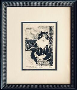 Nice Vintage MCM Black Cat Signed Lithograph Listed Artist Georges Lambert
