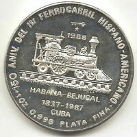 Caribe 10 Pesos 1988 plata Ferrocarril ( Habana - Bejucal ) @ Proof @