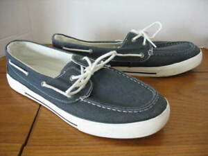 MENS THOM MCAN BOAT / DECK SHOES SIZE 13 CANVAS NAVY BLUE SUPER NICE CLEAN!