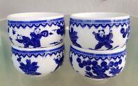 4 Blue & White Tea cups Saki Cups Chinese Butterflies
