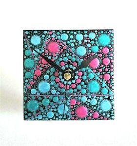 Mandala Dotted Small Desk Clock Handmade Hand Painted 10cm Square Unique UK Blue
