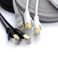 Cat 7 FLAT Ethernet Network Lead LAN Patch Cable RJ45 Lot for PS3 PS4 PS5 Xbox X
