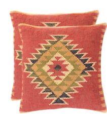 "Indian 18"" Set 2 wool Jute Kilim Cushion Cover Hand-woven Throw Pillow Boho Sham"