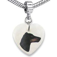 Manchester Terrier Heart Mother Of Pearl European Bracelet Charm Bead EBS100