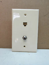 Premier Telephone Phone Jack and TV Coaxial Cable Combo Wall Plate Light Almond