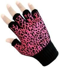 Winter Knit Fingerless Gloves Pink Leopard Dotted Palm