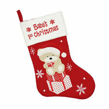 Baby's 1st Christmas Stocking - Fully Lined - Red - Embroidered Teddy design