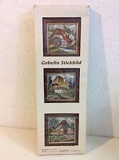 Vintage Gobelin Stickbild Embroidery Needlework Cross Stitch Wood Frame Kit