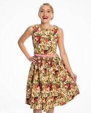 Lindy Bop, Audrey Beige Floral Swing Dress, UK 10, FR 38, DE 36, US S