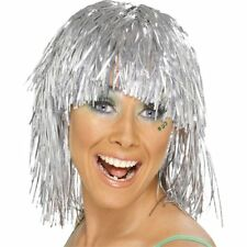 SILVER TINSEL SHOULDER LENGTH WIG - ONE SIZE