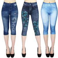 Damen Jeans-Look Leggings Leggins Treggings Jeggings Capri Skinny Hosen Mode P/D