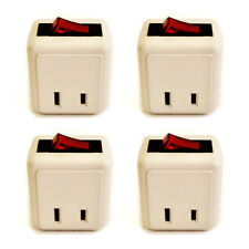 4x Single Outlet Wall Tap Adapter W Lighted Switch Power On/Off Switch Control