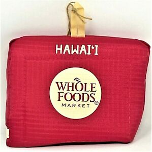 Whole Foods Hawaii Take Out Tote Folded Reusable Bag PINK Brand New!