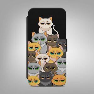 CUTE CAT KITTEN PRINT CATS FLIP WALLET PHONE CASE COVER                     b295