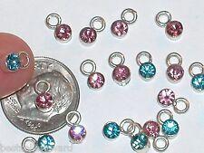 10pc Lot Miniature tiny little Crystal MIX pink purple Aqua dangle Pendant charm