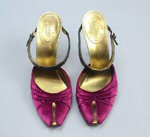 Rare GUCCI Tom Ford $1495 Velvet Crocodile Mules Heels Sandals 37 US7