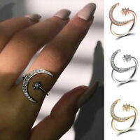 Fashion Silver Moon and Star Rings Women Wedding Jewelry Open Adjustable Ring