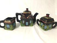 Vintage Empress Japan Tea Set Cottage Ware Square Teapot Sugar Creamer Lid Black