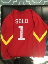Hope Solo Signed Custom Red Olympic Soccer Jersey COA Auto Autograph Large