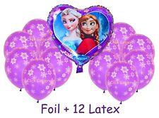 Frozen Anna Elsa Heart Foil + 12 Purple Latex Snowflake Balloons Helium Quality
