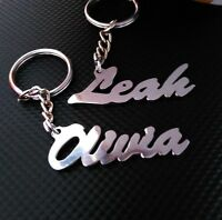 Hand Carved Personalized Your Name Keychain Metal Key Ring Gift Idea Key Chain