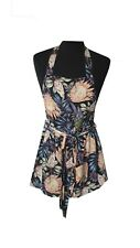 H&M Playsuit Size 10 Pink Blue Floral Backless Holiday Evening Casual