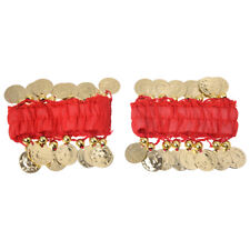 1 Pair Belly Dance Cuff Wrist Bracelets with 18 Golden Coins H7L0