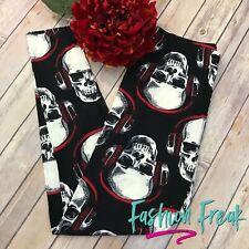 Skull Headphone red black white Radio Head Leggings Plus size TC Elastic waist