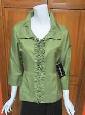 Samuel Dong Green Ruffle Front Short Water Resistant Jacket NWT Sz L $300