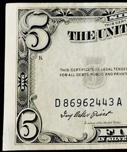1953 $5 SILVER CERTIFICATE! ULTRA SCARCE BLUE SEAL $5 BILL!THE BEST!