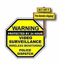 WARNING 24 HOUR SURVEILLANCE STICKER/DECAL MONITORING CAMERAS PROTECTED 3X3