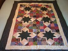 "AMISH LANCASTER PA. HUNTER GREEN ""STAR & 9 PATCH"" WALLHANGING QUILT 35""- 45"""