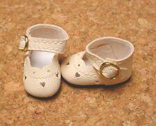 "Doll Shoes 31mm CREAM Heart Cut custom for 6"" Kelly, 8"" Lil Innocent, HO Patsy"