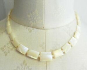 Vintage Mother of Pearl Rectangular Beads Necklace