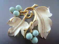 VTG. SARAH COVENTRY TURQUOISE BEADED AND ENAMELED BROOCH/PIN..SIGNED