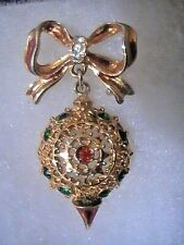 with Multi Crystals Bow Enamel Gorgeous Ornamental Filagree Christmas Brooch pin