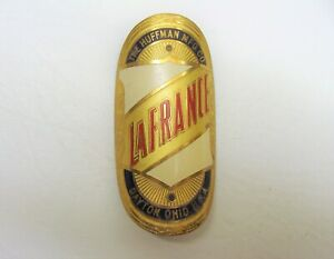 ~ Vintage NOS Huffman MFG CO LaFrance Brass Head Badge - Dayton, Ohio USA ~