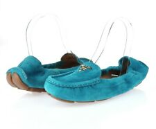 Prada Womens Turquoise Blue Suede Moccasin Slip On Loafers Driving Shoes Size 36