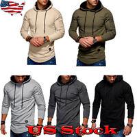 Men's Pleated Long Sleeve Hoodie Warm Hooded Sweatshirt Coat Jacket Fleeces Size