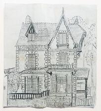 1944 dessin original Deauville villa Rue Gontaut Biron architecture
