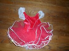 Girls Ballet Costume red Tutu sz Small Curtain Call  red velour/white trim.