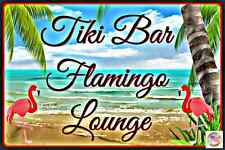 TIKI BAR FLAMINGO LOUNGE ALL WEATHER METAL SIGN 8X12 MAN CAVE HAPPY HOUR BEACH