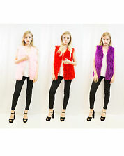 NEW Real Ostrich Feather Fur in Front & Suit fabric back Vest Coat Jacket Gilet
