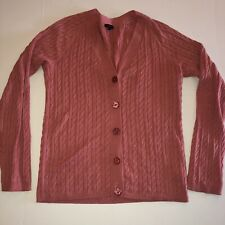 Talbots Womens Cardigan Sweater Size Large Pink Rose Cable Knit Long Sleeve EUC