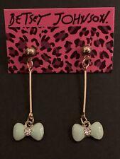 Betsey Johnson Ice Blue Bow Earrings Golden Ball Rhinestone Dangle Long Drop