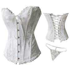 XL white Women Sexy Bustier Corset Burlesque Basque lingerie Rouge Boned Lace up
